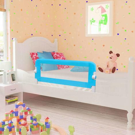 Hommoo Barra de seguridad para cama de niño 2 unidades azul 102x42 cm
