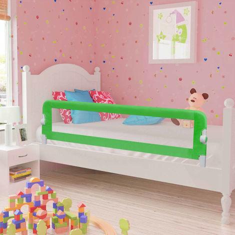 Hommoo Barra de seguridad para cama de niño 2 unidades verde 150x42 cm
