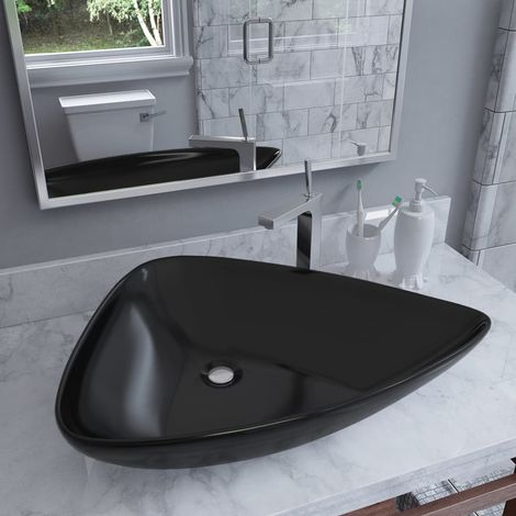 Hommoo Basin Ceramic Black Triangle 645x455x115 mm VD05011