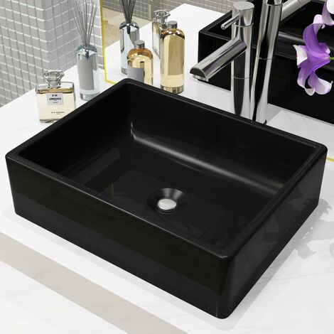 Hommoo Basin Ceramic Rectangular Black 41x30x12 cm