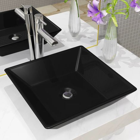 Hommoo Basin Ceramic Square Black 41.5x41.5x12 cm