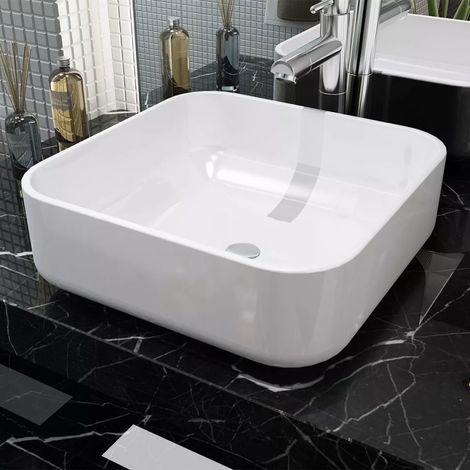 Hommoo Basin Square Ceramic White 38x38x13.5 cm VD04462
