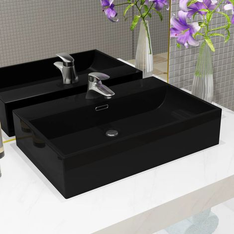 Hommoo Basin with Faucet Hole Ceramic Black 60.5x42.5x14.5 cm