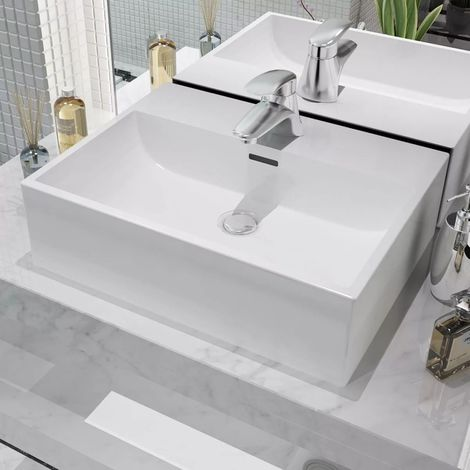 Hommoo Basin with Faucet Hole Ceramic White 51.5x38.5x15 cm VD04470