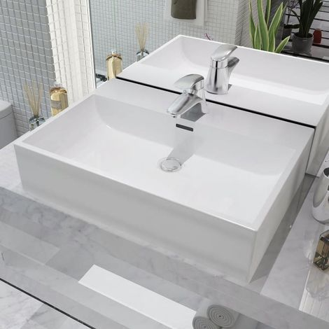 Hommoo Basin with Faucet Hole Ceramic White 60.5x42.5x14.5 cm VD04471