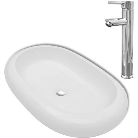 Hommoo Bathroom Basin with Mixer Tap Ceramic Oval White QAH18391