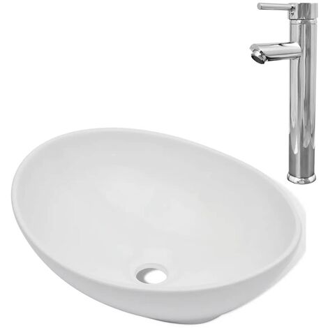 Hommoo Bathroom Basin with Mixer Tap Ceramic Oval White QAH18392