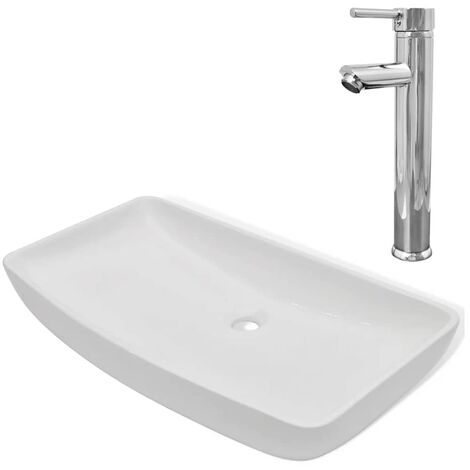 Hommoo Bathroom Basin with Mixer Tap Ceramic Rectangular White QAH18388