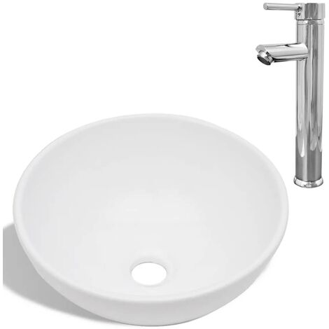 Hommoo Bathroom Basin with Mixer Tap Ceramic Round White QAH18389