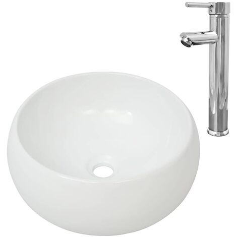 Hommoo Bathroom Basin with Mixer Tap Ceramic Round White QAH18390