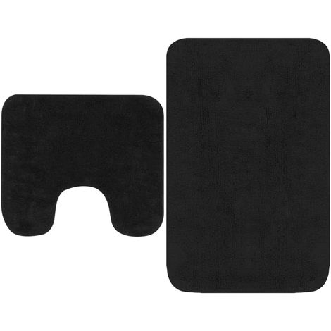 Hommoo Bathroom Mat Set 2 Pieces Fabric Anthracite