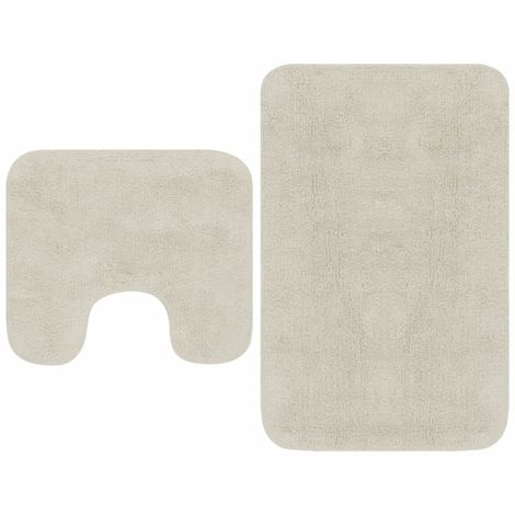 Hommoo Bathroom Mat Set 2 Pieces Fabric White