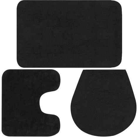 Hommoo Bathroom Mat Set 3 Pieces Fabric Anthracite