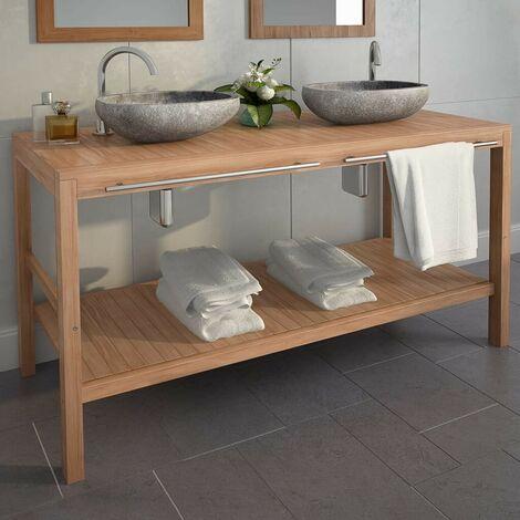 Hommoo Bathroom Vanity Cabinet Solid Teak 132x45x75 cm