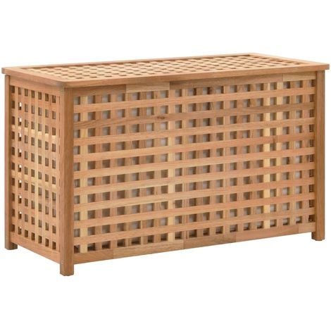 Hommoo Baúl para la ropa sucia 77,5x37,5x46,5 cm madera maciza nogal