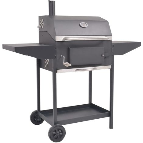 Hommoo BBQ Charcoal Smoker with Bottom Shelf Black