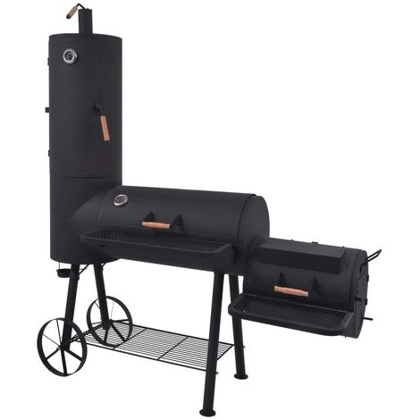 Hommoo BBQ Charcoal Smoker with Bottom Shelf Black Heavy XXL