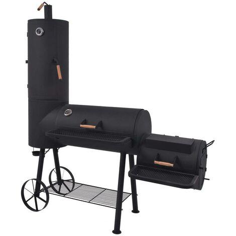 Hommoo BBQ Charcoal Smoker with Bottom Shelf Black Heavy XXL VD27540