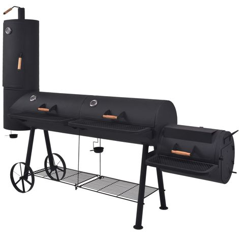 Hommoo BBQ Charcoal Smoker with Bottom Shelf Black Heavy XXXL