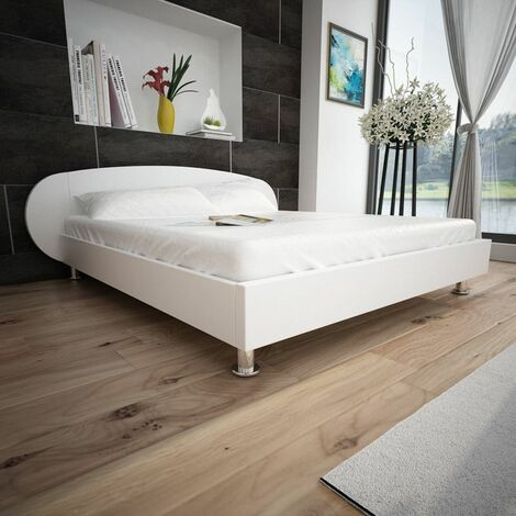 Hommoo Bed Frame 4FT6 Double/135x190 cm Artificial Leather White VD33060
