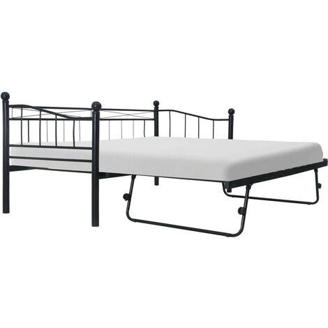 Hommoo Bed Frame Black Steel 180x200/90x200 cm