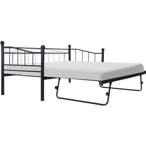 Hommoo Bed Frame Black Steel 180x200/90x200 cm VD25532