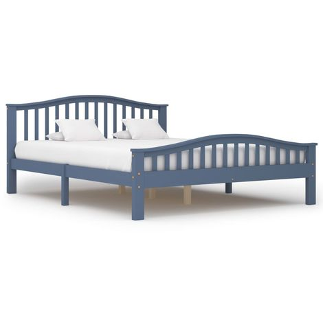 Hommoo Bed Frame Grey Solid Pinewood 160x200 cm VD36243