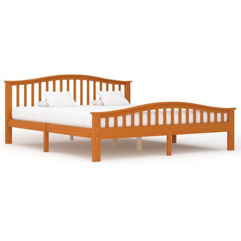 Hommoo Bed Frame Honey Brown Solid Pinewood 180x200 cm VD36226