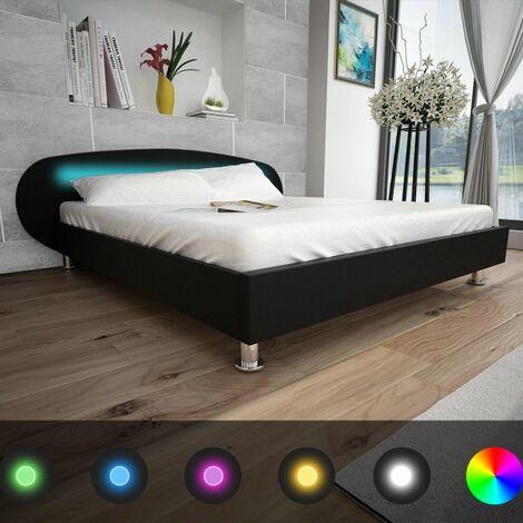 Hommoo Bed Frame LED 5FT King Size/150x200 cm Artificial Leather Black VD33062