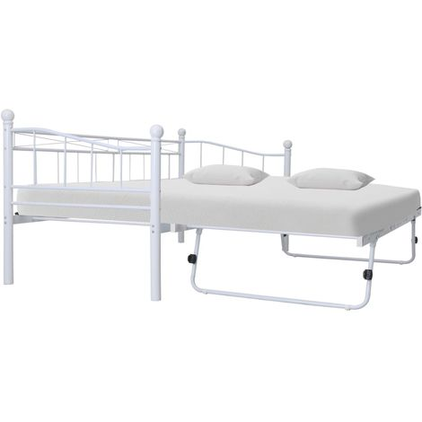 Hommoo Bed Frame White Steel 180x200/90x200 cm