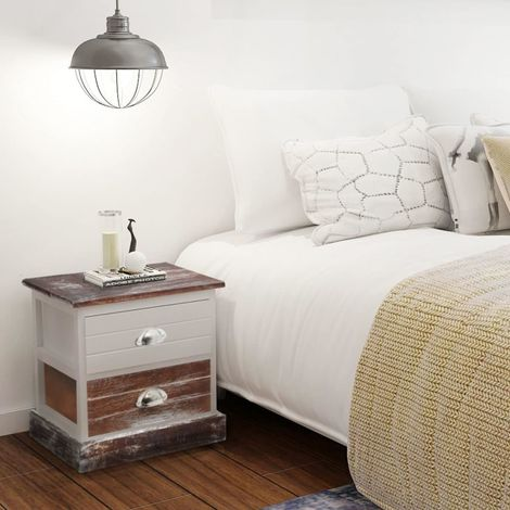Hommoo Bedside Cabinet Brown and White