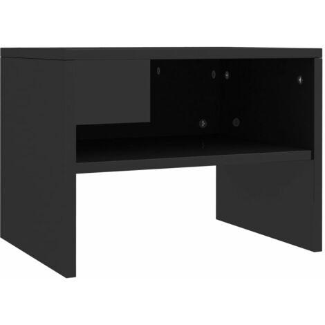 Hommoo Bedside Cabinet High Gloss Black 40x30x30 cm Chipboard QAH31106