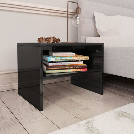 Hommoo Bedside Cabinet High Gloss Black 40x30x30 cm Chipboard VD31106