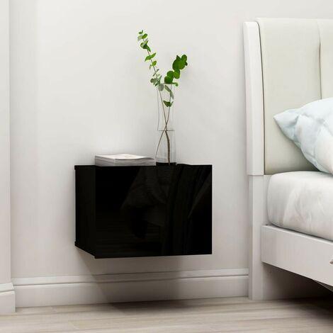 Hommoo Bedside Cabinet High Gloss Black 40x30x30 cm Chipboard VD47412