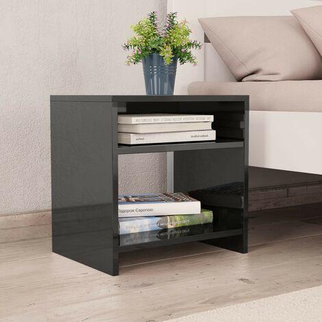 Hommoo Bedside Cabinet High Gloss Black 40x30x40 cm Chipboard VD31052