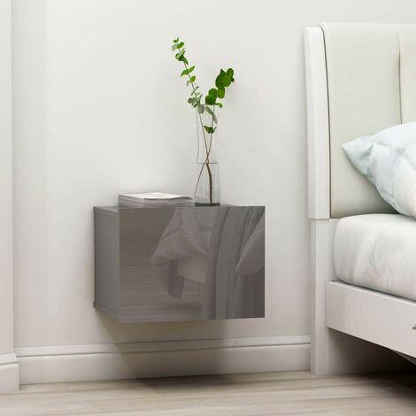 Hommoo Bedside Cabinet High Gloss Grey 40x30x30 cm Chipboard VD47414