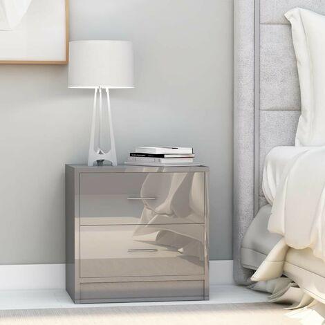 Hommoo Bedside Cabinet High Gloss Grey 40x30x40 cm Chipboard VD47396