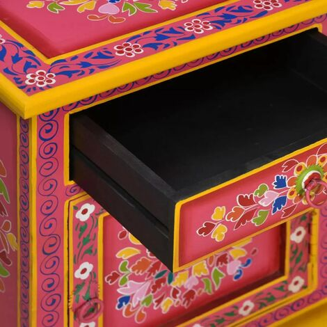 Hommoo Bedside Cabinet Solid Mango Wood Pink Hand Painted QAH10863
