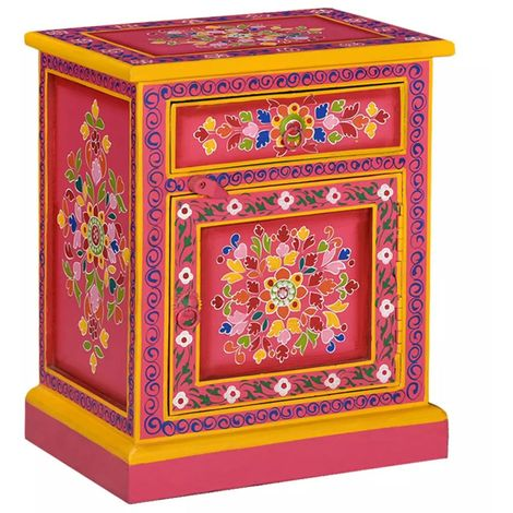 Hommoo Bedside Cabinet Solid Mango Wood Pink Hand Painted VD10863