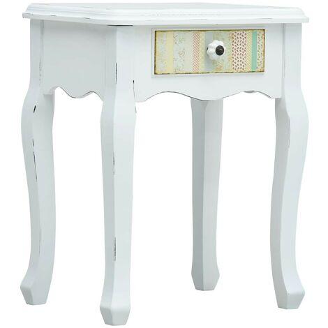 Hommoo Bedside Cabinet White 40x30x50.5 cm Wood