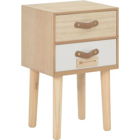 Hommoo Bedside Cabinet with 2 Drawers 30x25x49.5 cm Solid Pinewood