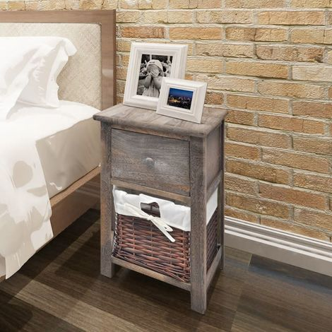 Hommoo Bedside Cabinet Wood Brown