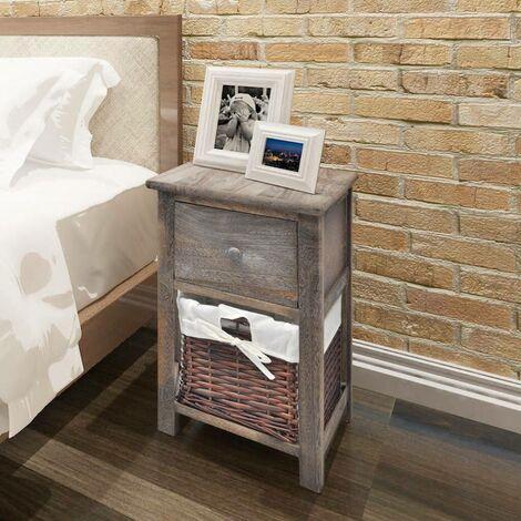 Hommoo Bedside Cabinet Wood Brown VD09482