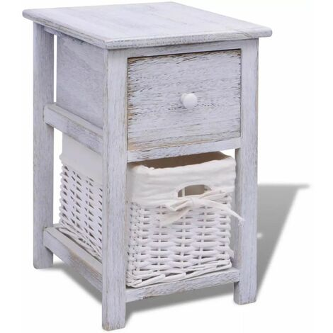 Hommoo Bedside Cabinet Wood White QAH09480