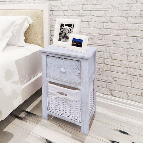 Hommoo Bedside Cabinet Wood White VD09480