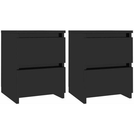 Hommoo Bedside Cabinets 2 pcs High Gloss Black 30x30x40 cm Chipboard QAH31559