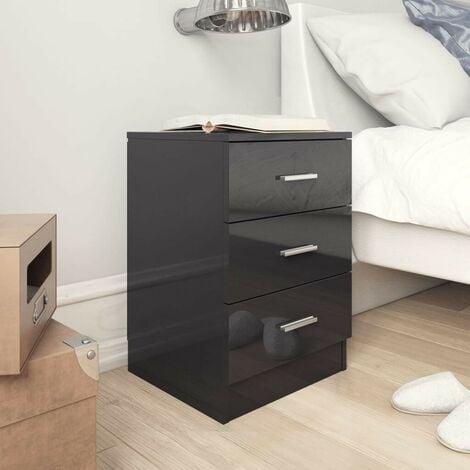 Hommoo Bedside Cabinets 2 pcs High Gloss Black 38x35x56 cm Chipboard VD31494