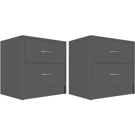 Hommoo Bedside Cabinets 2 pcs High Gloss Black 40x30x40 cm Chipboard QAH47395