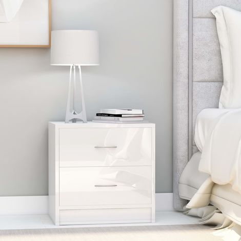 Hommoo Bedside Cabinets 2 pcs High Gloss White 40x30x40 cm Chipboard VD47393
