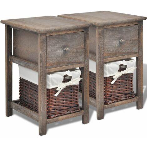 Hommoo Bedside Cabinets 2 pcs Wood Brown QAH09483